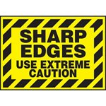 Sharp Edges Use Extreme Caution Hazard Warning Label