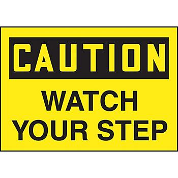 Caution Watch Your Step Hazard Warning Label