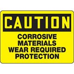 Caution Corrosive Material Wear Required Protection Sign