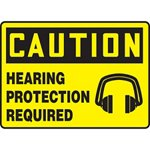 Caution Hearing Protection Required Sign with Symbol