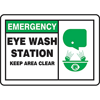 Emergency Eye Wash Station Keep Area Clear Sign