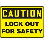 Caution Lockout For Safety Sign