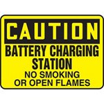 Caution Battery Charging Station No Smoking Or Open Flames Sign