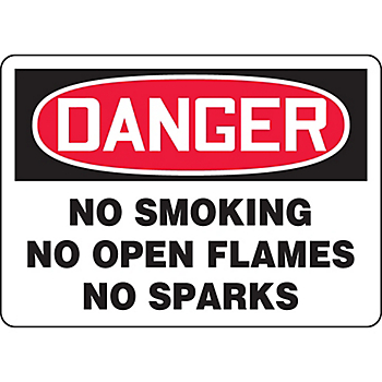 Danger No Smoking No Open Flames No Sparks Sign