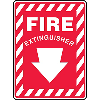 Fire Extinguisher Sign with Arrow