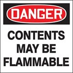 Danger Contents May Be Flammable Drum ID Label
