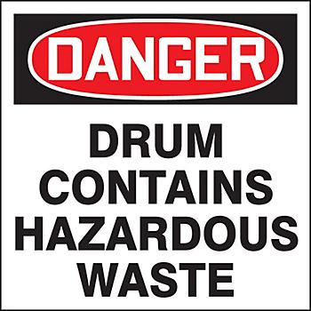 Danger Contains Hazardous Waste Drum ID Label