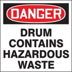 Danger Contains Hazardous Waste Drum ID Label