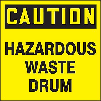 Caution Hazardous Waste Drum ID Label