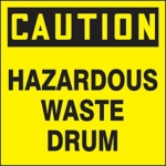 Caution Hazardous Waste Drum ID Label