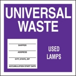 Universal Waste Used Lamps Drum ID Label