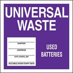Universal Waste Used Batteries Drum ID Label