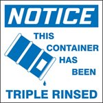 Notice This Container Has Been Triple Rinsed Drum ID Label