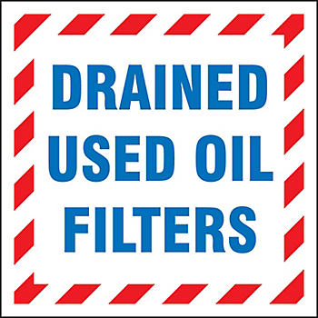 Drained Used Oil Filters Drum ID Label