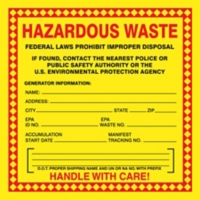 Hazardous Waste Shipping Label with Generator Information