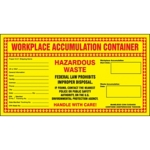 Workplace Accumulation Container Hazardous Waste Shipping Label