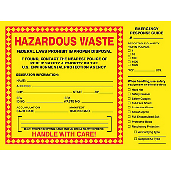 Hazardous Waste Shipping Label with Emergency Response Guide