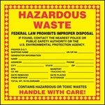 Hazardous Waste Shipping Label with Storage Date