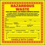 California Hazardous Waste Shipping Label