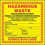 Hazardous Waste Shipping Label with Non-Chlorinated Solvents