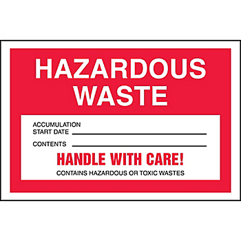 Hazardous Waste Shipping Label with Handle With Care