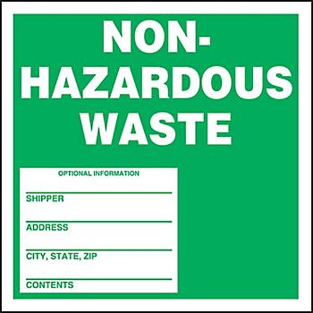 Non-Hazardous Waste Shipping Label