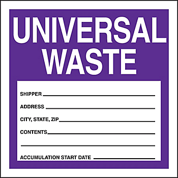 Universal Waste Shipping Label