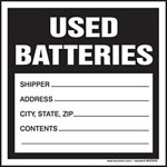 Used Batteries Waste Shipping Label