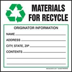Materials For Recycle Waste Shipping Label