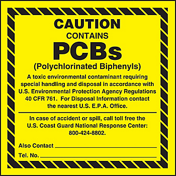 Caution - Contains PCBs Label