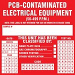 Caution This Equipment Contains PCBs Label