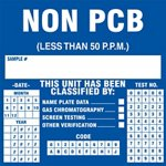 Non PCB Less than 50ppm Label