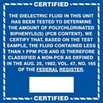 Certified Less than 1ppm PCB Label