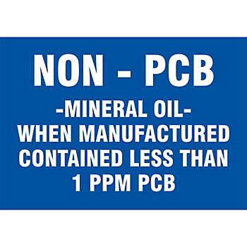 Non PCB Mineral Oil Less than 1ppm PCB Label