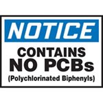 Notice Contains No PCBs Label