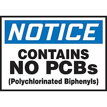 Notice Contains No PCBs Label