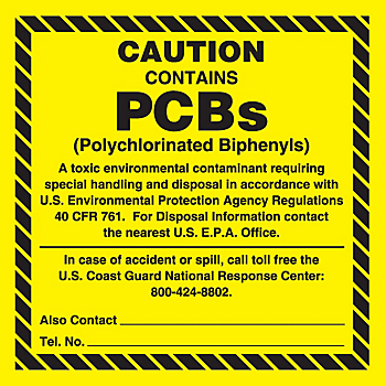 Caution This Equipment Contains PCBs Label - Small Print