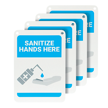 Sanitize Hands Here Wall Sign - 4 Signs