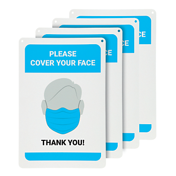 Please Cover Your Face Wall Sign - 4 Signs