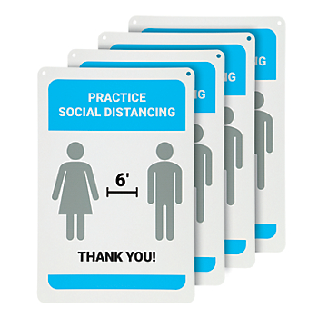 Practice Social Distancing Wall Sign - 4 Signs