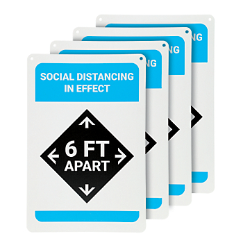 Social Distancing in Effect Wall Sign - 4 Signs