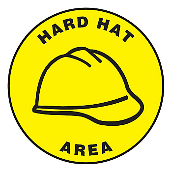 Hard Hat Area Slip-Gard™ Floor Sign