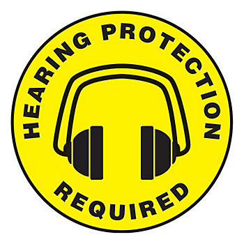 Hearing Protection Required Slip-Gard™ Floor Sign