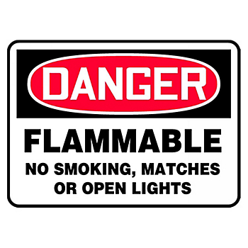 Danger Flammable No Smoking Matches Or Open Lights Sign