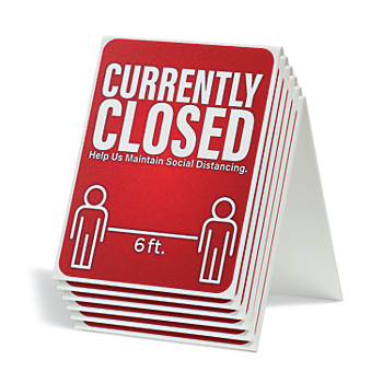 Currently Closed Table Tent Sign – Box of 6