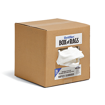 WorkWipes® Exact Cut New White 100% Cotton Rags