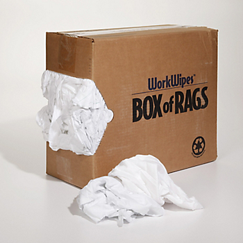 WorkWipes® Box of Rags Reclaimed White Bed Sheets