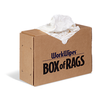 WorkWipes® New White 100% Cotton Rags in Box