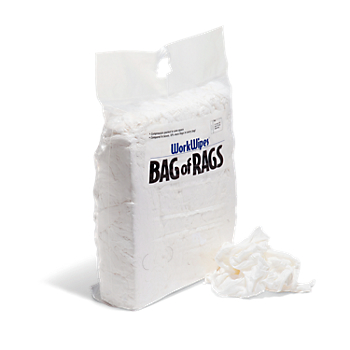 WorkWipes® New White 100% Cotton Rags in Bag