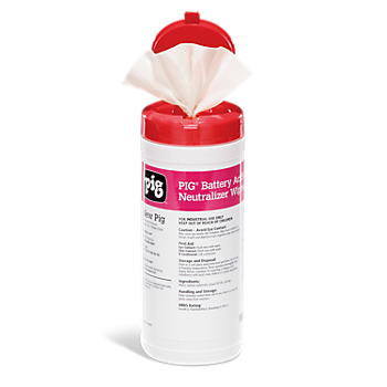 PIG® Battery Acid Cleaner and Neutralizer Wipes